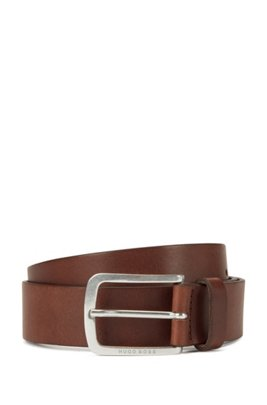 Pin-buckle belt in vegetable-tanned Italian leather, Dark Brown