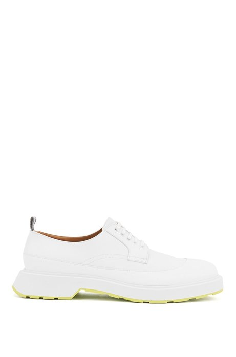 Chunky-soled Derby shoes with rubberised-leather uppers, White