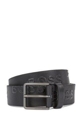 Strukturierter Gürtel aus pflanzlich gegerbtem Leder mit Logo-Prägung, Schwarz