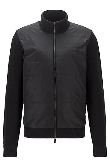 羊毛棉质拉链开衫,  001_黑色