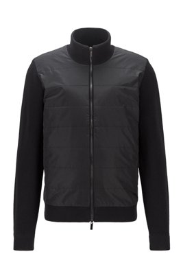 Hybrid zip-through cardigan with padded front panel, Black