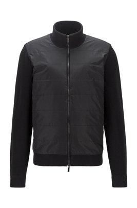 Cardigan zippé hybride avec panneau matelassé sur le devant, Noir