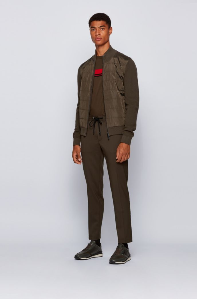 Hybrid zip-through cardigan with padded front panel