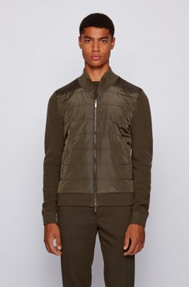 Hybrid zip-through cardigan with padded front panel, Light Green