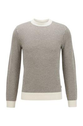 Pull Slim Fit en laine vierge à micro motif pied-de-poule, Blanc