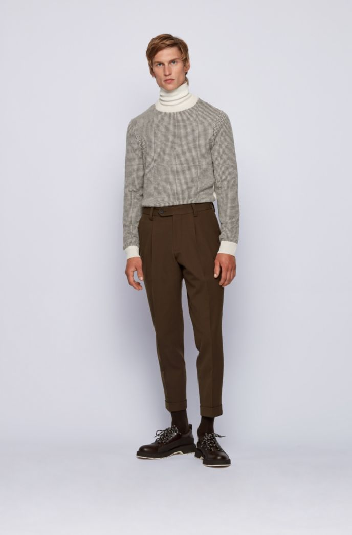 Slim-fit sweater in micro-houndstooth virgin wool