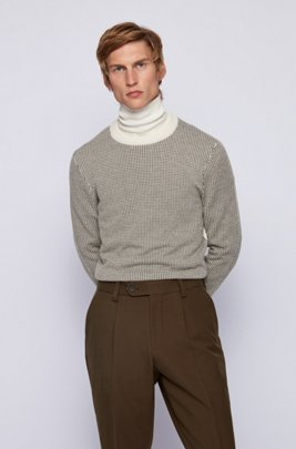 Slim-fit sweater in micro-houndstooth virgin wool, White