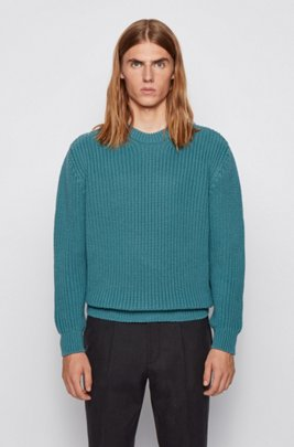 Virgin-wool sweater with chunky rib structure, Green