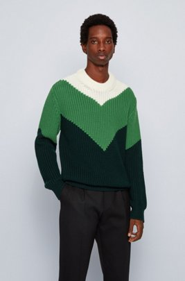 Virgin-wool sweater with chunky rib structure, Light Green