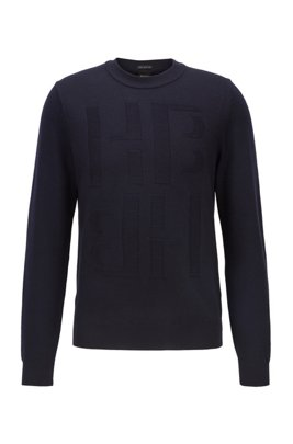 Micro-structured sweater in virgin wool with tonal monogram, Dark Blue