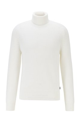 Rollneck sweater in a structured wool blend, White