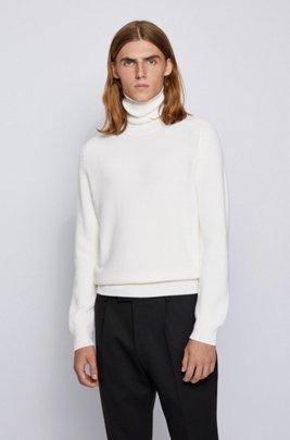 ロールネックセーター ストラクチャード ウール混紡, ホワイト
