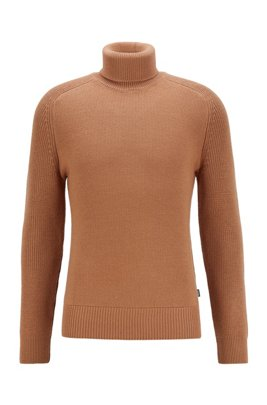 Rollneck sweater in a structured wool blend, Beige