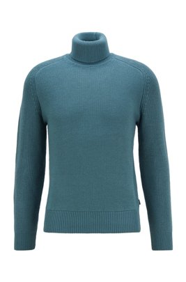 Rollneck sweater in a structured wool blend, Green