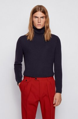 Rollneck sweater in a structured wool blend, Dark Blue