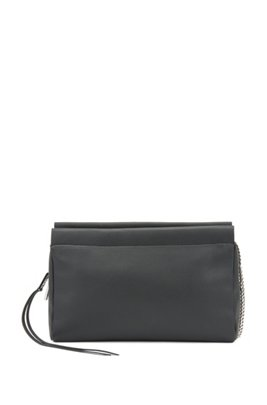 Clutch bag in grained leather with chain strap, Black