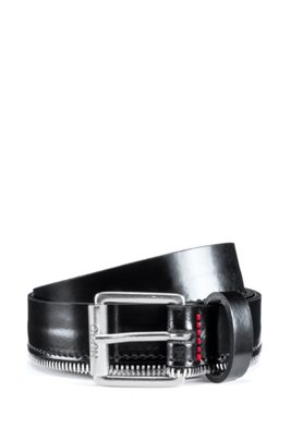 Italian-leather belt with zipper hardware trim, Black