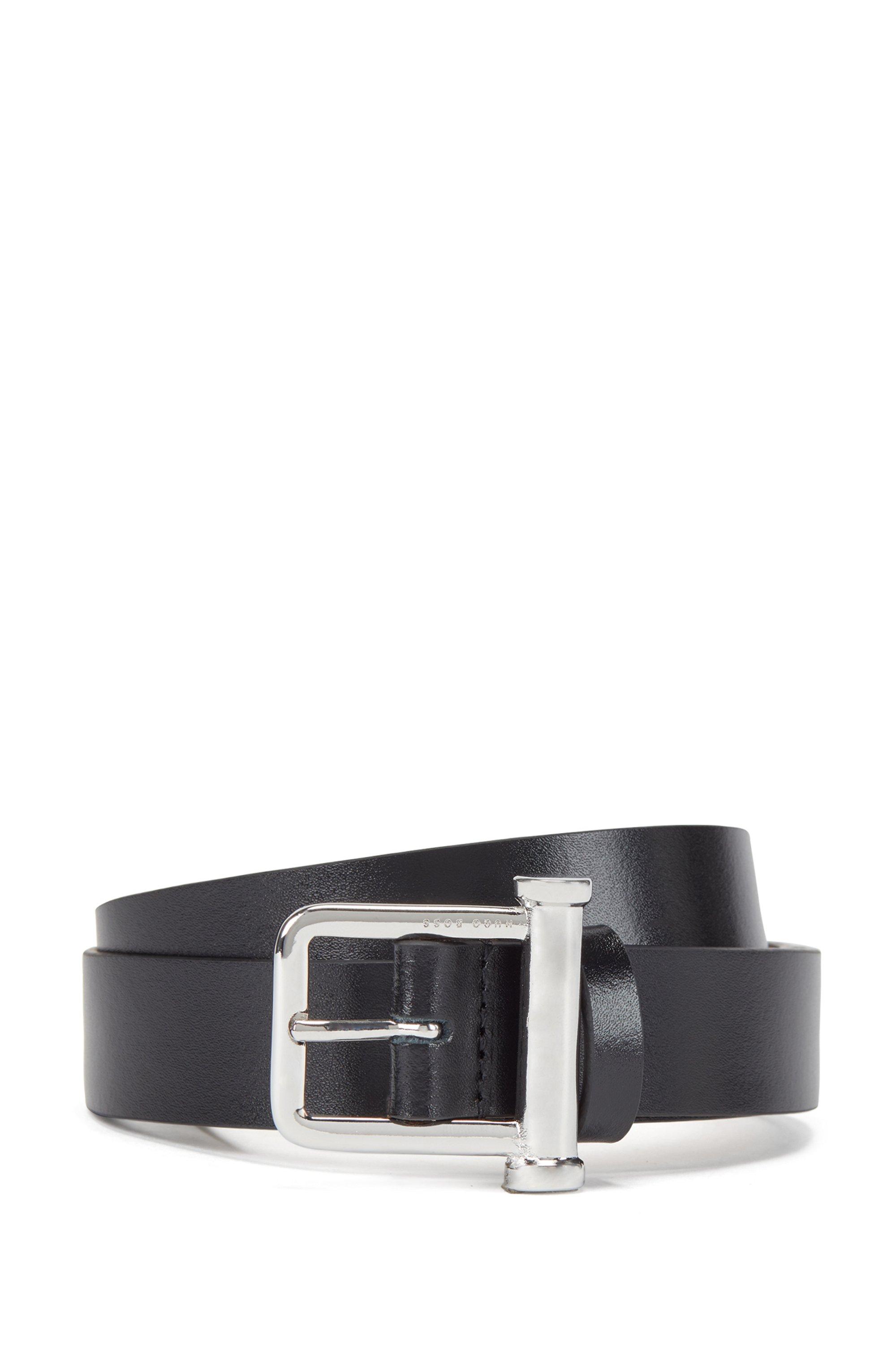 Cintura realizzata in Italia in pelle semi-lucida, Nero