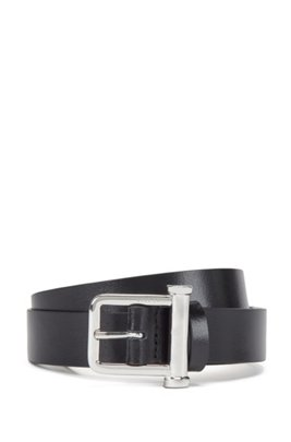 Italian-made belt in semi-lustrous leather, Black