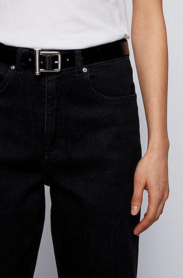 略带光泽的意大利制造皮革腰带,  002_黑色