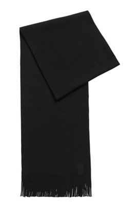 Raschel-knitted scarf in virgin wool with fringing, Black