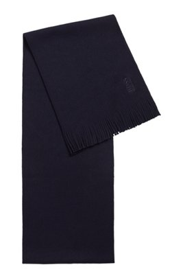 Raschel-knitted scarf in virgin wool with fringing, Dark Blue