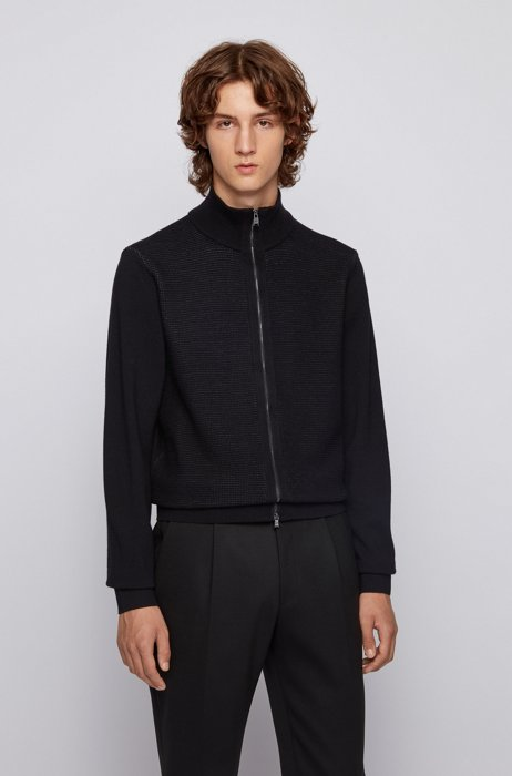 Knitted cardigan in virgin wool and cotton, Black
