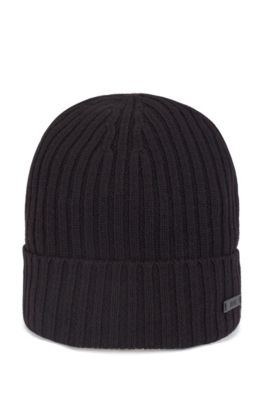 Gorro de punto acanalado de lana virgen con logo, Negro