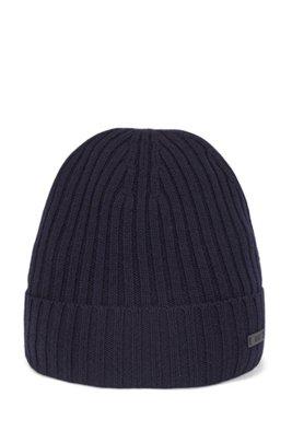 Gorro de punto acanalado de lana virgen con logo, Azul oscuro