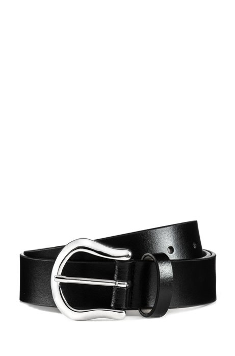 Italian-leather belt with polished-metal hardware, Black