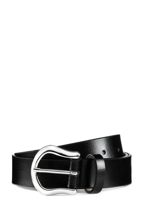 Cintura in pelle italiana con dettagli in metallo lucido, Nero