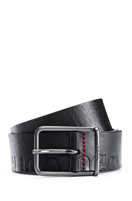 Italian-leather belt with cropped-logo embossing, Black
