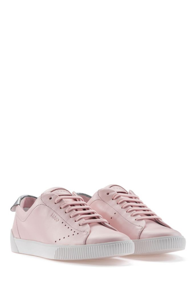 Lace-up trainers in nappa leather with metallic collar