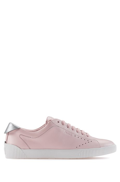 Lace-up trainers in nappa leather with metallic collar, light pink