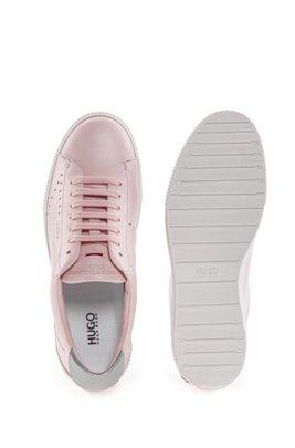 Schnür-Sneakers aus Nappaleder mit Metallic-Detail, Hellrosa