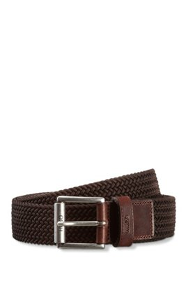 Italian-made woven belt with leather trims, Dark Brown