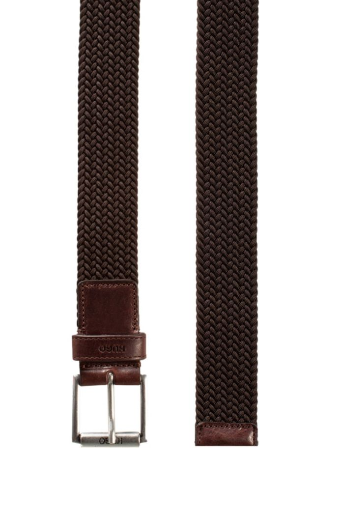 Italian-made woven belt with leather trims