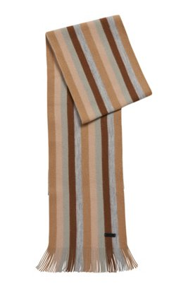 Striped scarf in brushed double-faced wool, Light Beige