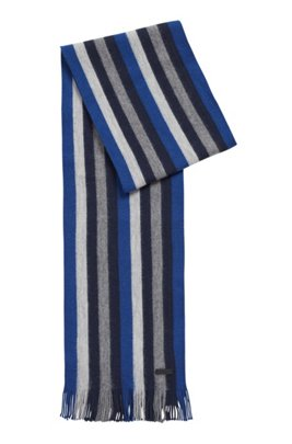 Striped scarf in brushed double-faced wool, Dark Blue