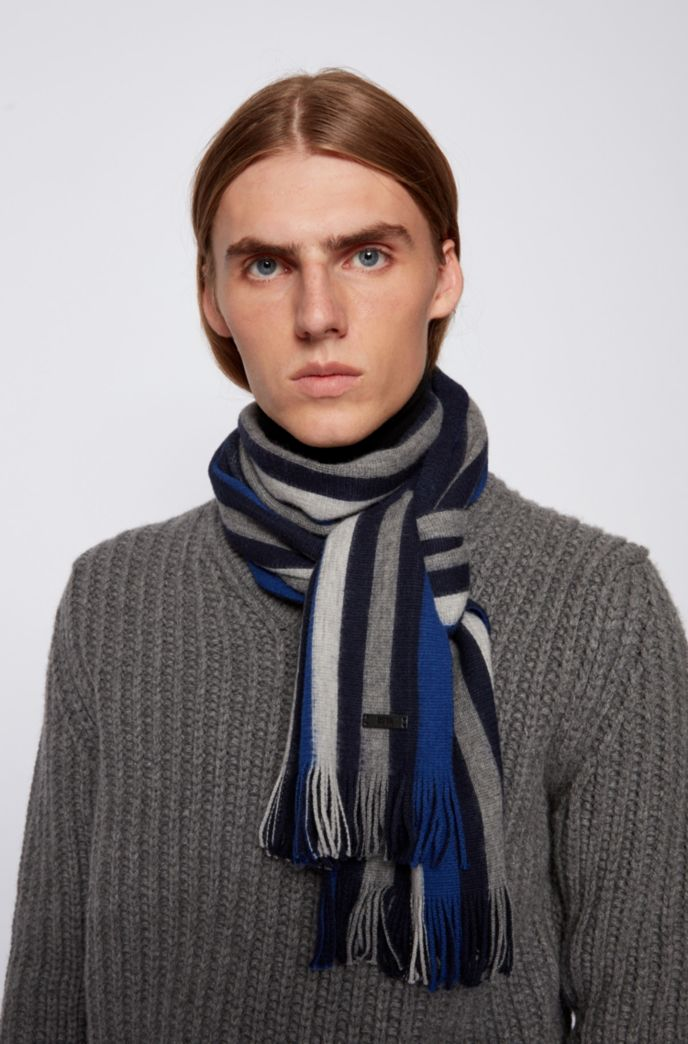 Striped scarf in brushed double-faced wool