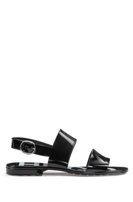 Italian-made sandals in glossy PVC, Black