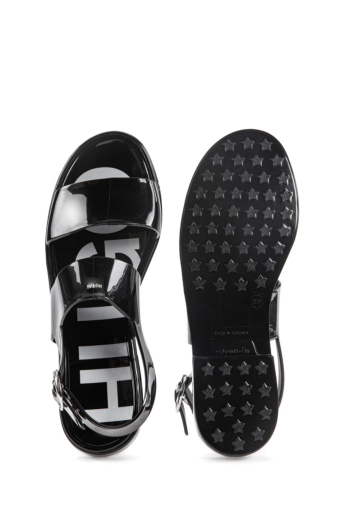 Italian-made sandals in glossy PVC
