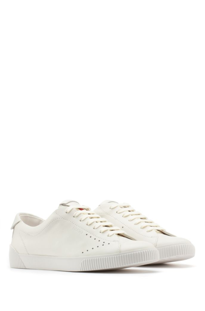 Nappa-leather trainers with perforated detailing