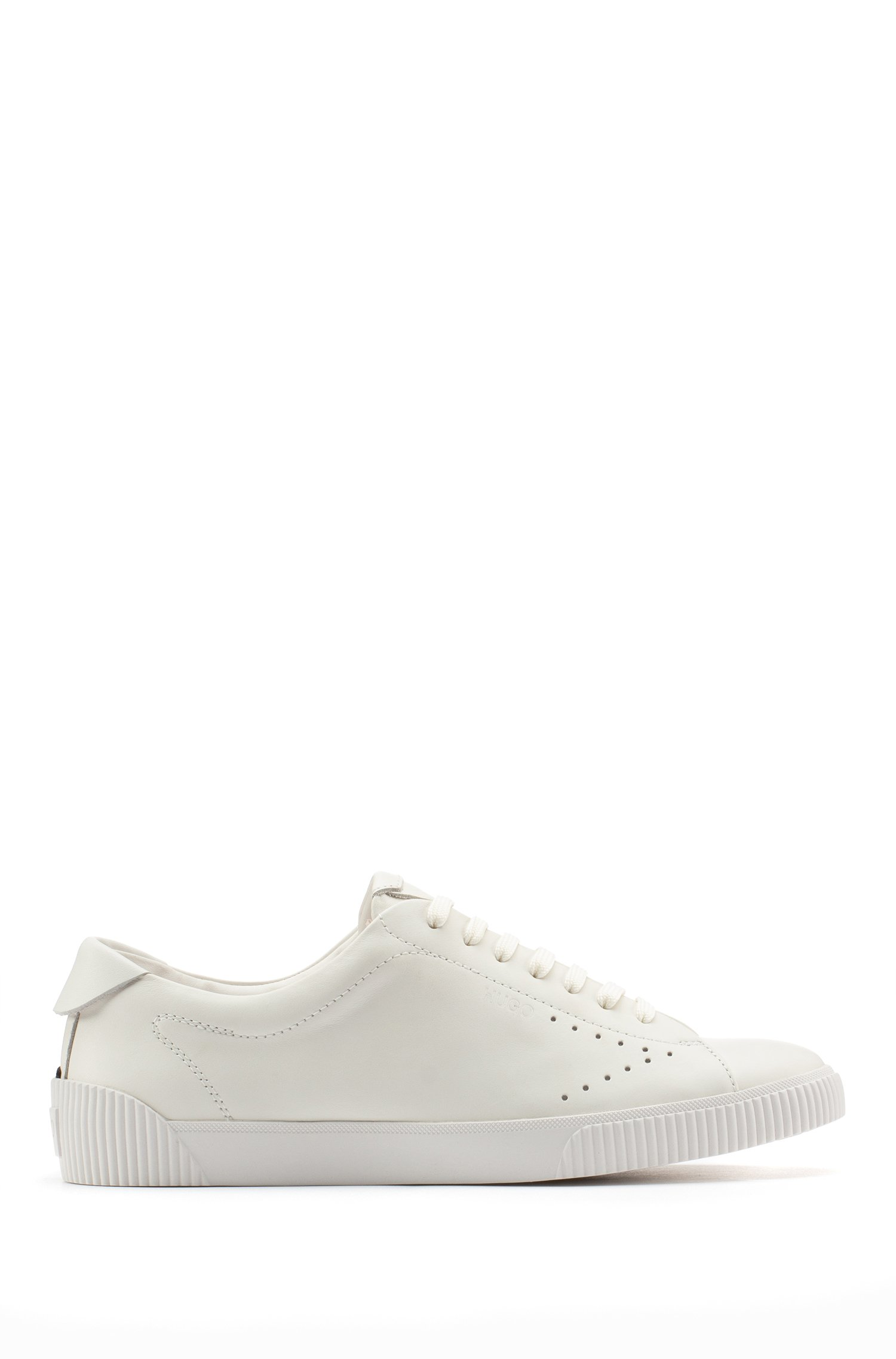 Nappa-leather trainers with perforated detailing, White
