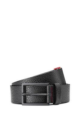 Gürtel aus genarbtem Leder mit Zink-Schließe und rotem Detail, Schwarz