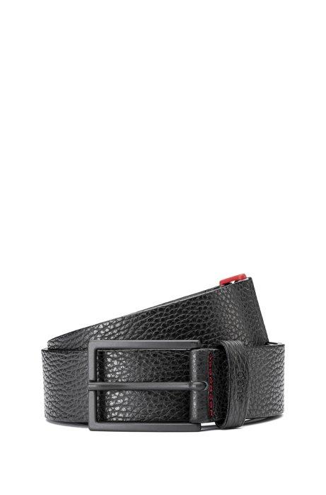 Cintura in pelle martellata con fibbia in zinco e dettagli rossi, Nero