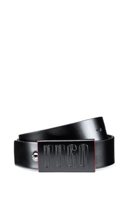 Italian-leather belt with new-season logo embossing, Black