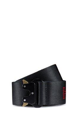 Stoffgürtel mit Logo-Print und metallenem Clipverschluss, Schwarz