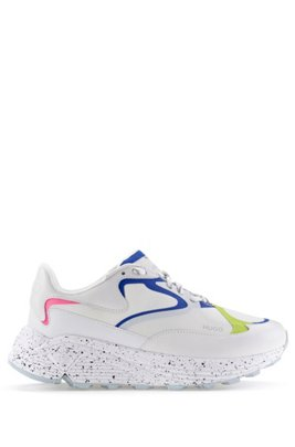 Lace-up trainers in mixed materials with Vibram sole, White