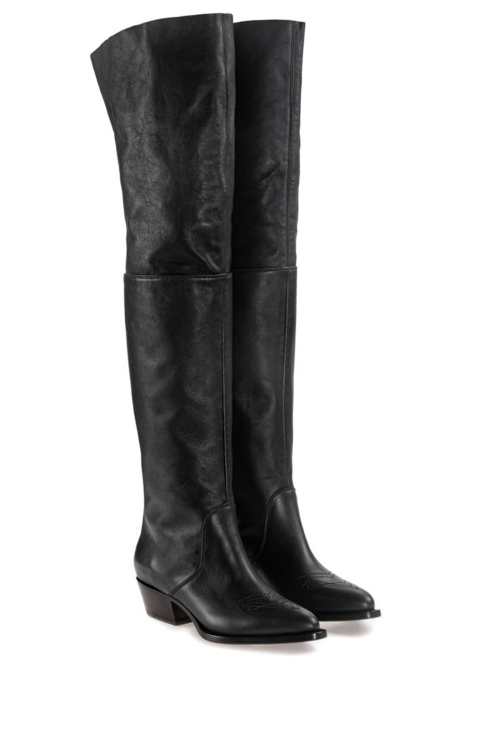 Over-the-knee calf-leather boots with contrast zip detail